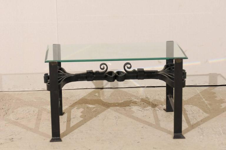 Italian Wrought Iron Black Colored Coffee Table With Glass Top U0026 Ornate  Scrolls For Sale 1