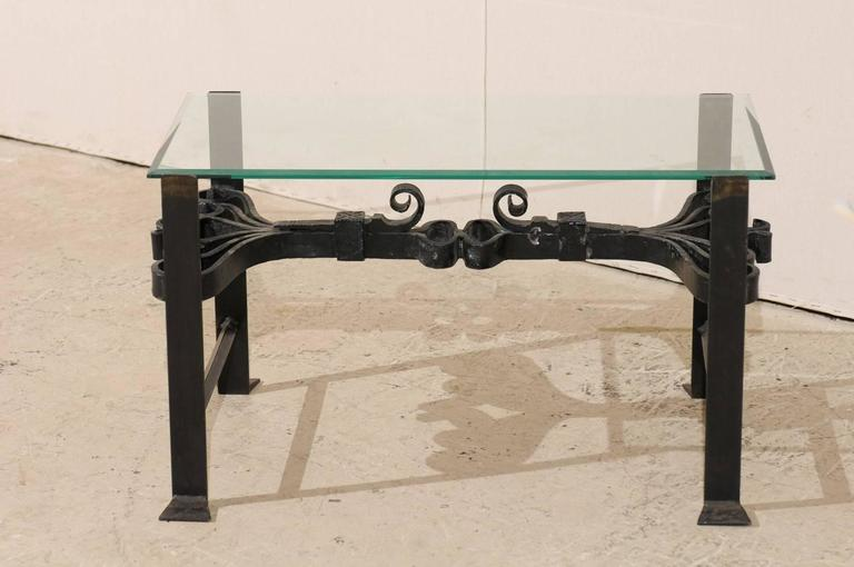 A Wrought Iron Coffee Table With Glass Top. This Rectangular Shaped Coffee  Table Features 19th