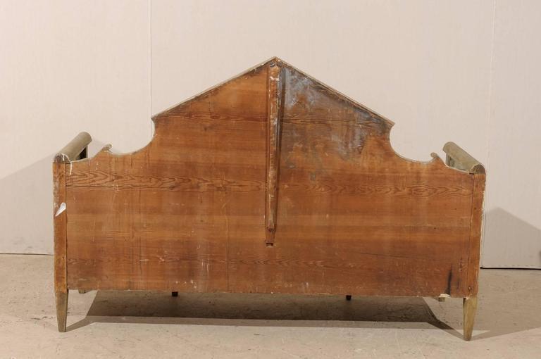 Swedish Karl Johan Style Bench w/ Fabulous Pyramidal Back Pediment, Early 1800s For Sale 2