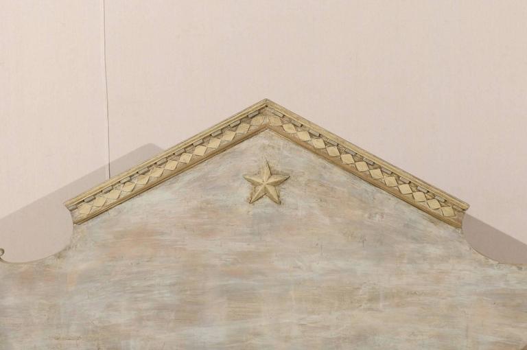 Linen Swedish Karl Johan Style Bench w/ Fabulous Pyramidal Back Pediment, Early 1800s For Sale