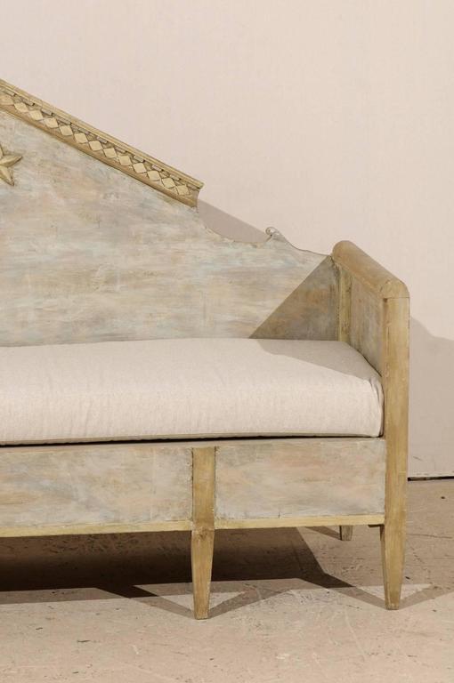 Swedish Karl Johan Style Bench w/ Fabulous Pyramidal Back Pediment, Early 1800s For Sale 1