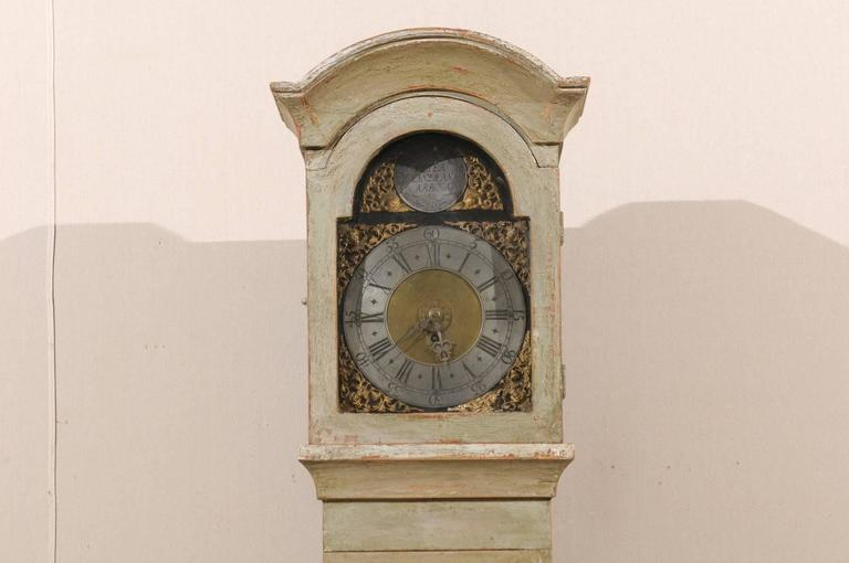 Gustavian Swedish 19th Century Floor Clock with Linear Body and Pewter Ring Face For Sale