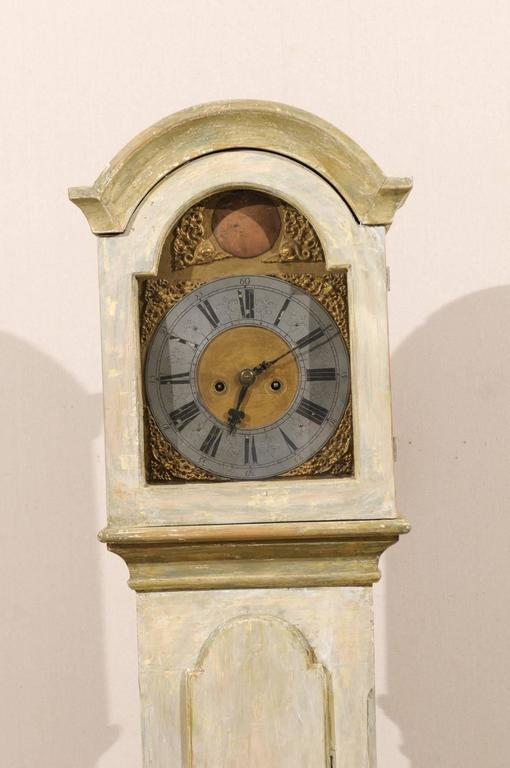 19th Century Longcase Clock In Light Color With Bonnet