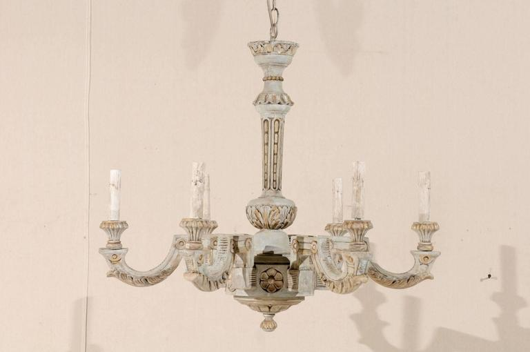 French vintage painted and carved wood chandelier with six lights at a french vintage six light painted and carved wood chandelier this french chandelier from aloadofball Gallery