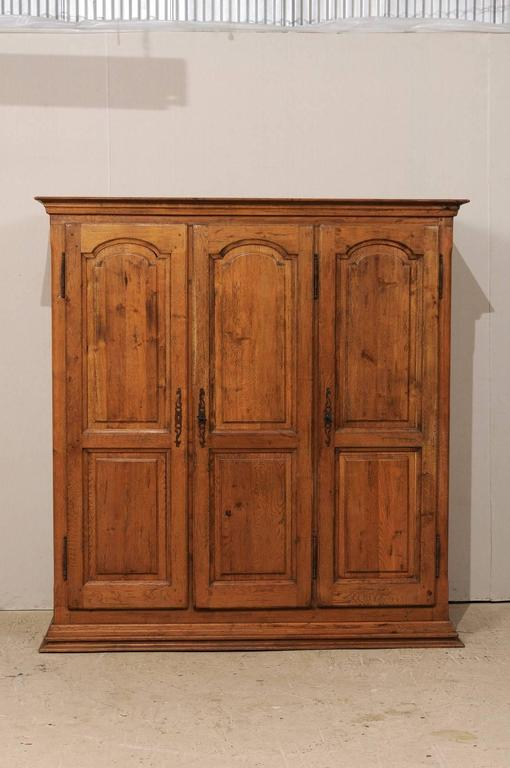 A French Natural Wood Armoire Or Wardrobe Cabinet. This Lovely French  Three Door Armoire