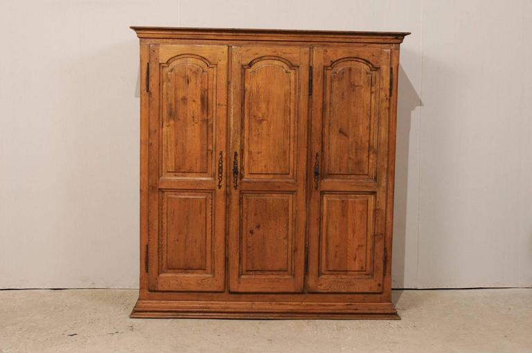 French Natural Wood Armoire/Wardrobe Cabinet With Three Doors U0026 Ornate  Hardware In Good Condition