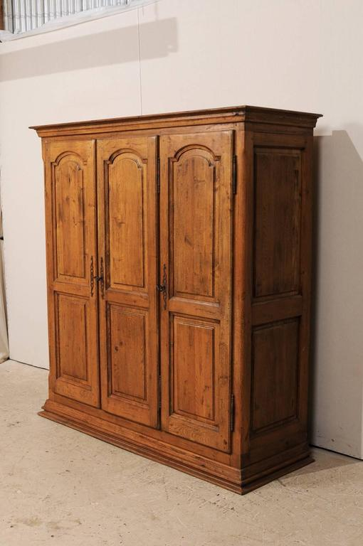 French Natural Wood Armoire Wardrobe Cabinet With Three