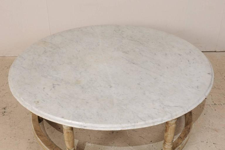 White Marble Top French Over Sized Round Wood Coffee Table
