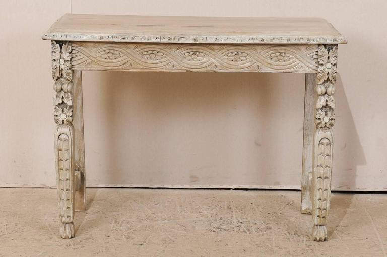 Italian 19th Century Small Intricately Carved Console Table Of Bleached Wood  2