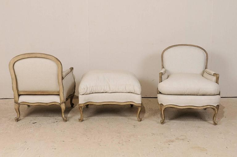 Three-Piece Set of French Bergères Chair Pair with Pouf / Ottoman, Neutral Tones 7