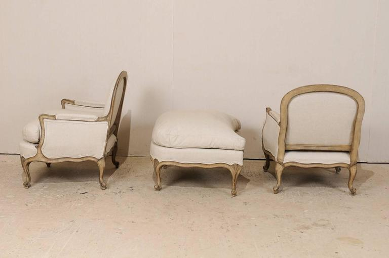 Three-Piece Set of French Bergères Chair Pair with Pouf / Ottoman, Neutral Tones 8