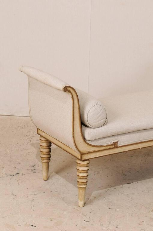 Carved French Récamier Style Daybed, Sofa or Bench with Bolster Pillows and Turned Legs For Sale