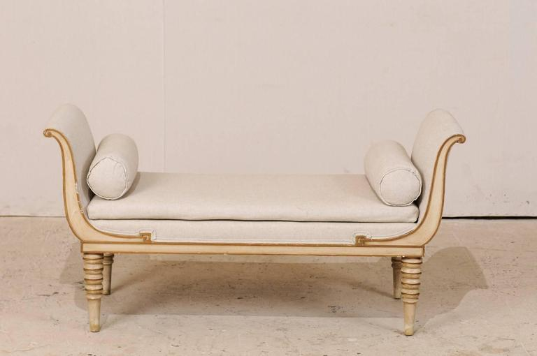 20th Century French Récamier Style Daybed, Sofa or Bench with Bolster Pillows and Turned Legs For Sale
