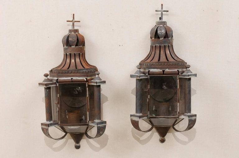 Pair of Mexican Dark Colored Patinated Single Candle Sconces with Crosses For Sale at 1stdibs