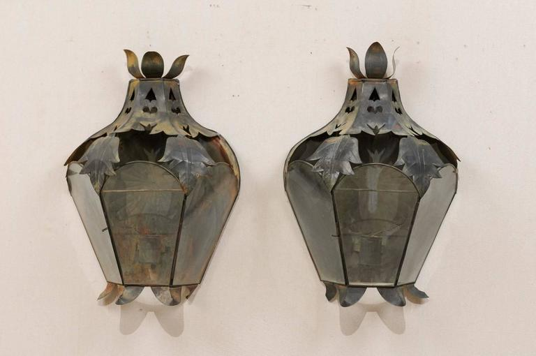 Pair of Mexican Handcrafted Folk Art Candle Light Sconces with Lantern Look For Sale at 1stdibs