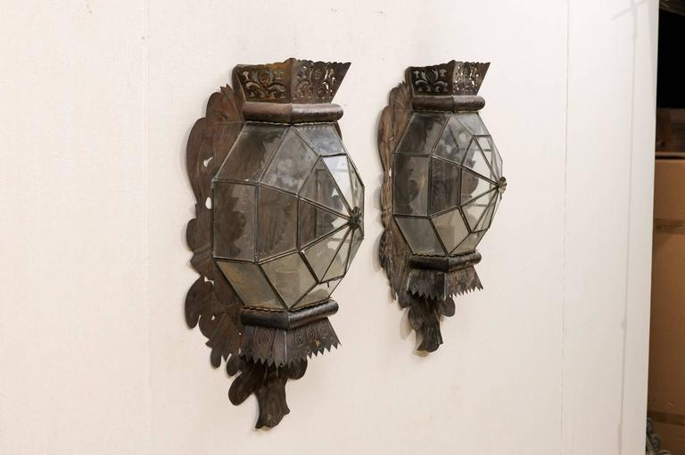 Pair of Folk Art Mexican Single Candle Sconces Handcrafted from Tin and Glass at 1stdibs