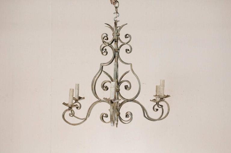 French Vintage Painted Iron Scrolled Chandelier In Pretty