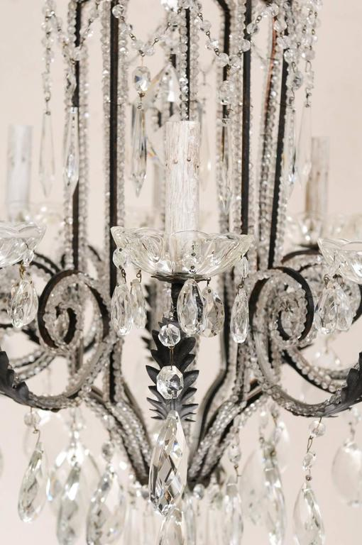 Italian Ten-Light Crystal Chandelier with Black Wrought Iron Armature For Sale 3