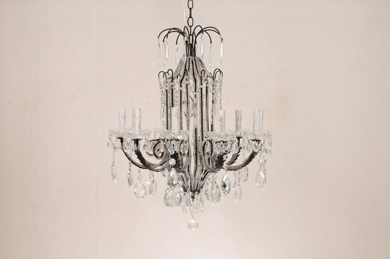 Italian Ten-Light Crystal Chandelier with Black Wrought Iron Armature In Good Condition For Sale In Atlanta, GA