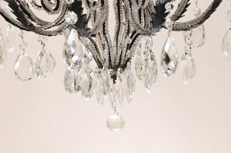 Italian Ten-Light Crystal Chandelier with Black Wrought Iron Armature For Sale 4
