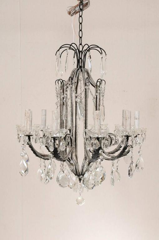 Beaded Italian Ten-Light Crystal Chandelier with Black Wrought Iron Armature For Sale