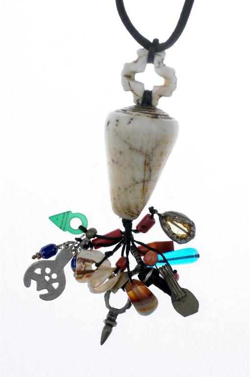20th Century Chez Faouzi Custom-Made Moroccan Necklace with Shells, Beads and Artifacts For Sale