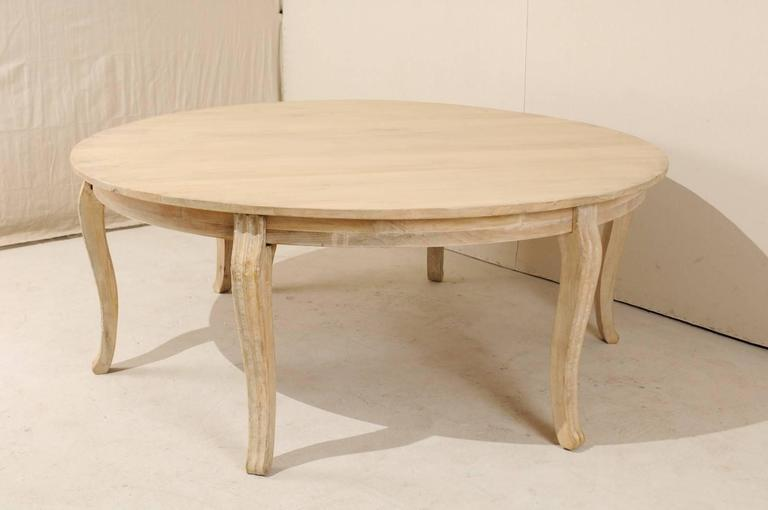 Large Wood Dining Room Tables: Lovely Round Bleached Wood Large Dining Table With