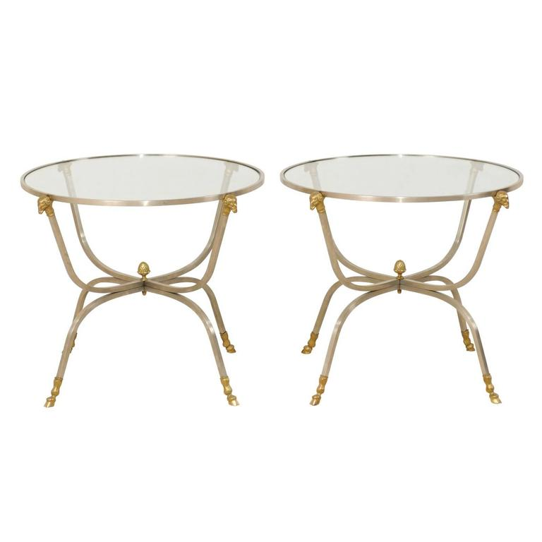 Pair Of Italian Gl Br And Silver Metal Side Tables With Ram S Head Motifs For
