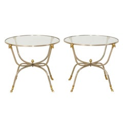 Pair of Italian Glass, Brass and Silver Metal Side Tables with Ram's Head Motifs