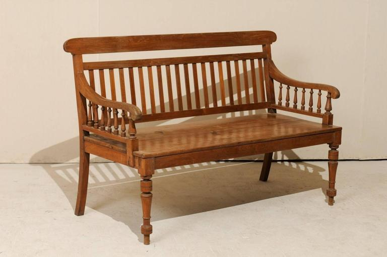 Finest British Colonial Style Teak Wood Bench with Slats on the Backrest  XW55