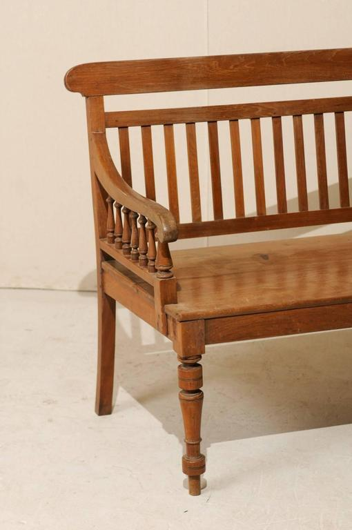 Brand-new British Colonial Style Teak Wood Bench with Slats on the Backrest  CP11