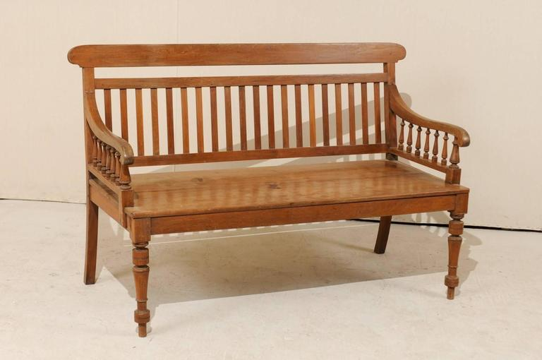 Fantastic British Colonial Style Teak Wood Bench with Slats on the Backrest  JU35