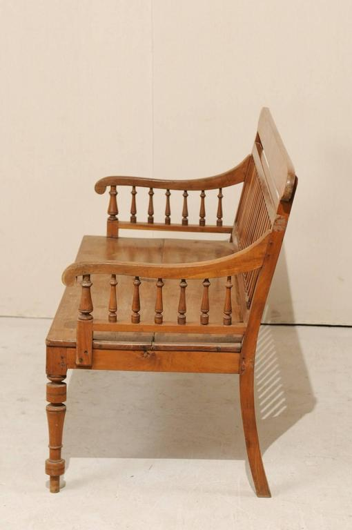 British Colonial Style Teak Wood Bench With Slats On The