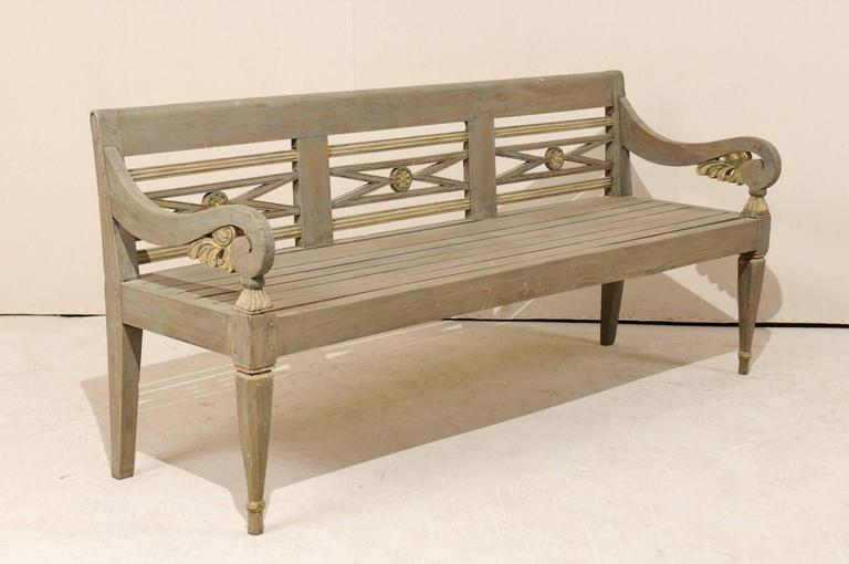 Dutch Colonial Style Painted Teak Wood Bench With Flower
