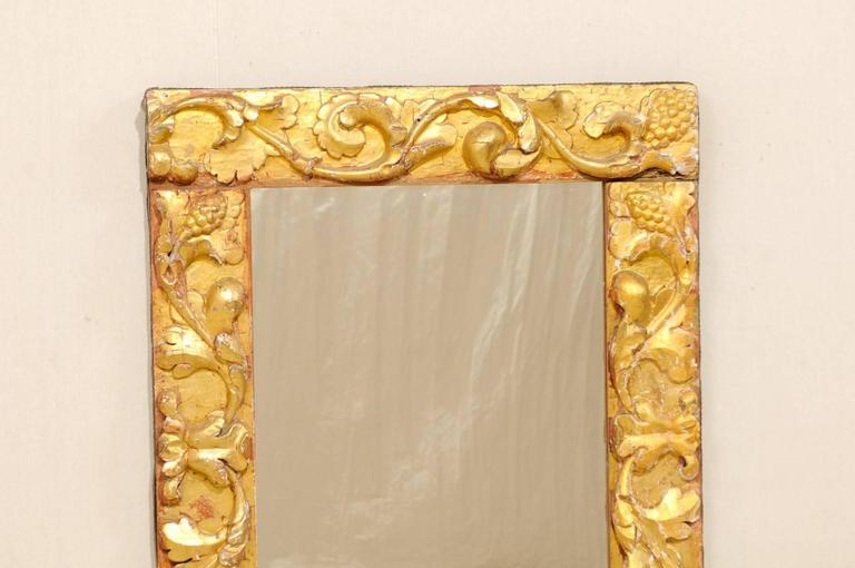 Wood Exquisite Italian Giltwood Carved Mirror of 19th Century Italian Fragments For Sale