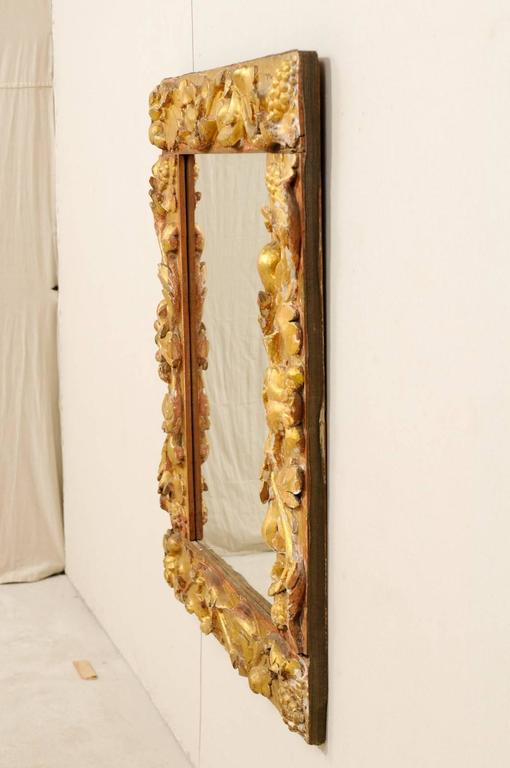 Exquisite Italian Giltwood Carved Mirror of 19th Century Italian Fragments For Sale 5