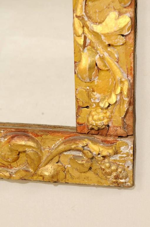 Exquisite Italian Giltwood Carved Mirror of 19th Century Italian Fragments For Sale 4