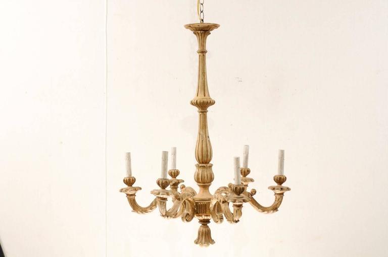 An Elegant Italian Early 20th C. Carved Wood Column Chandelier w/ Tassel Finial In Good Condition For Sale In Atlanta, GA