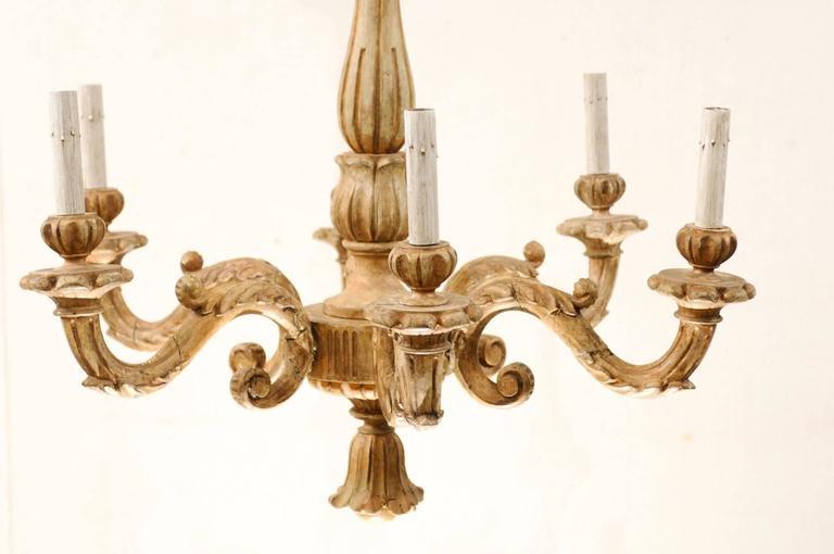 An Elegant Italian Early 20th C. Carved Wood Column Chandelier w/ Tassel Finial For Sale 3