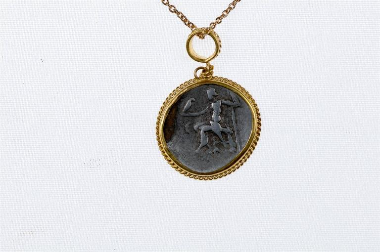 Classical Greek Ancient Greek Coin of Alexander Tetradrachm set in Gold Bezel, circa 336 BC For Sale
