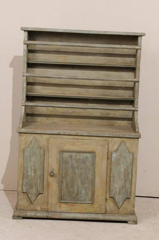 19th Century Period Gustavian, Swedish Painted Wood Cabinet with Plate Rack In Good Condition For Sale In Atlanta, GA