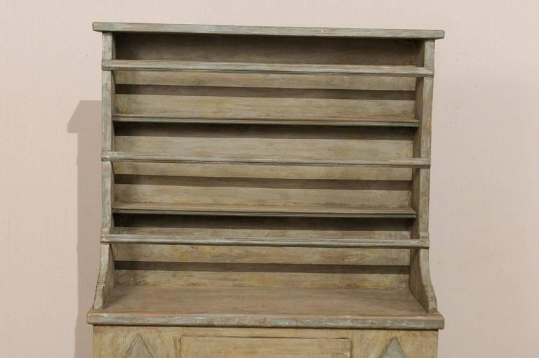 19th Century Period Gustavian, Swedish Painted Wood Cabinet with Plate Rack For Sale 1