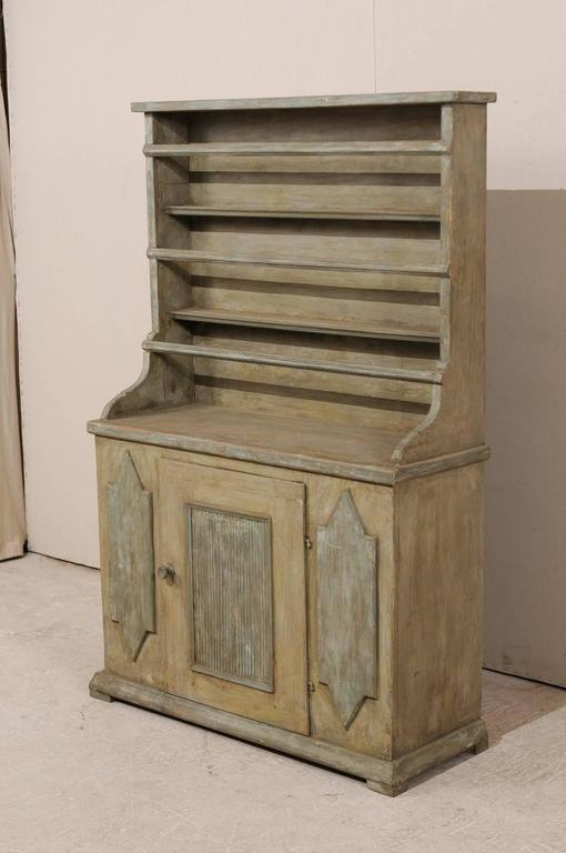 19th Century Period Gustavian, Swedish Painted Wood Cabinet with Plate Rack For Sale 3
