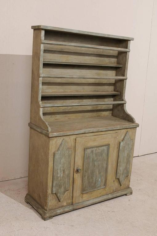 19th Century Period Gustavian, Swedish Painted Wood Cabinet with Plate Rack For Sale 2