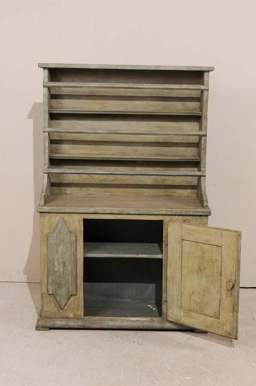 19th Century Period Gustavian, Swedish Painted Wood Cabinet with Plate Rack For Sale 4