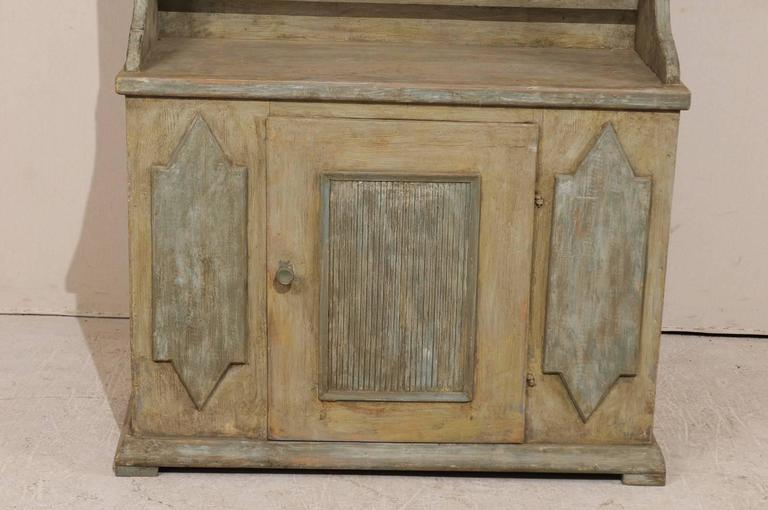 19th Century Period Gustavian, Swedish Painted Wood Cabinet with Plate Rack For Sale 5