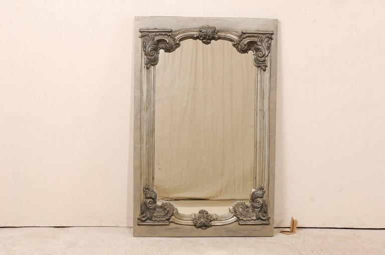 Large 19th Century Swedish Mirror with Ornate Metal Design and Wood Surround 2