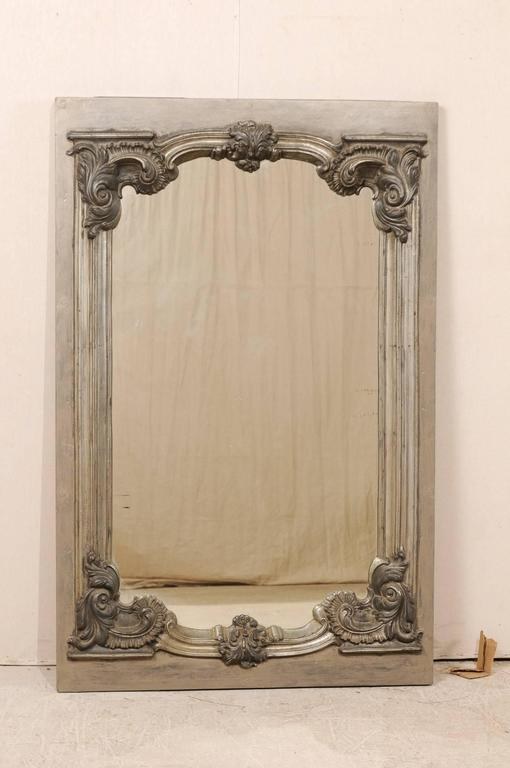 Large 19th Century Swedish Mirror with Ornate Metal Design and Wood Surround 3