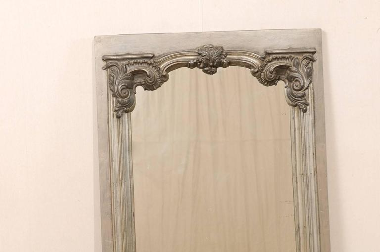 Large 19th Century Swedish Mirror with Ornate Metal Design and Wood Surround 4