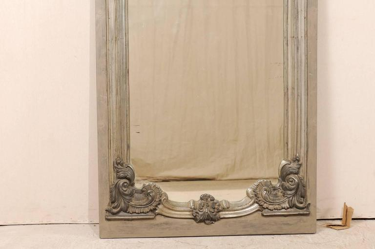 Large 19th Century Swedish Mirror with Ornate Metal Design and Wood Surround 5